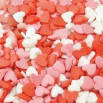 Фигурная посыпка Сердечки красно-бело-розовые