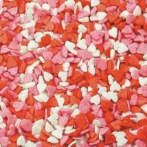 Сердечки красно-бело-розовые