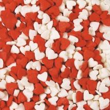 Сердечки красно-белые